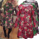 WOMENS LADIES LONG SLEEVES REINDEER CHRISTMAS GIFT SWING XMAS TOP DRESS 3 COLORS