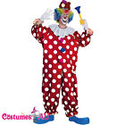 Adult Dotted Clown Carnival Funny Circus Joker Costume Mens Birthday Fancy Dress