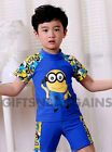 MINION SWIM SUIT SET BATHERS RASHIE TOGS TRUNKS CAP KIDS BOYS BEACH WEAR 2-7y