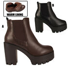 Ladies High Heel Cleated Sole Platform Womens Block Chunky Chelsea Ankle Boots
