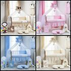 13-PCS EMBROIDERY NURSERY BEAR MOON COLLECTION BEDDING SET WITH CHIFFON DRAPE