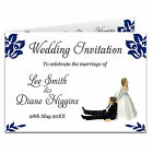 Double Sided & Folded Day Or Evening Wedding Invitations - Bride Pulling Groom