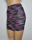 6-8 BLACK PINK LYCRA STRETCH MINI SKIRT PARTY WOMENS SHORT SEXY BODYCON CLUB H39