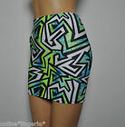 6-8 GREEN BLACK WHITE LYCRA GEO STRETCH MINI SKIRT CLUB PARTY BODYCON WOMENS H43