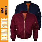 Men's MA1 Denim State Bomber Harrington Jacket Military Pilot Biker Army Jacket