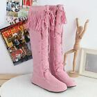 womens US4-11 Hot Tassel Moccasin Knee High Boots Pull On Flat Heel New 771758