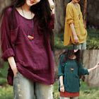 Perfect Cool Ladies Loose Casual Solid Tops 3/4 Sleeve Cotton Linen Blouse Shirt