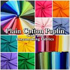 100 cotton poplin solid plain dressmaking craft fabric material 60 colours