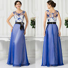 APPLIQUE BLUE MAXI Bridesmaid Prom Ball Gown Formal Evening Party Dress Sz 6-20+