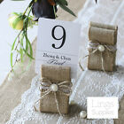 12/24pcs Burlap Table Number Holders Rustic Wedding Party Place Name Card Holder