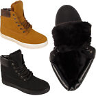 LADIES ANKLE BOOTS WOMENS WARM LINED FUR WORKER HI TOP WINTER TRAINER SHOES