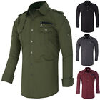 New Fashion Mens Long Sleeve Button Front Shirt Collar Casual Cotton Shirt S~XL