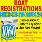 "3""H x 20""W BOAT REGISTRATION NUMBERS CUSTOM OUTDOOR VINYL LETTERING DECAL SETS"