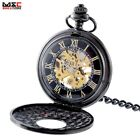 Antique Steampunk Roman Dial Skeleton Mechanical Windup Pocket Watch Chain Retro