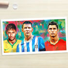 Messi Neymar Ronaldo Soccer Poster painting CANVAS GICLEE PRINT (Rolled)