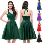 Women Vintage Halter Retro Swing 50s 60s pinup Housewife Picnic Dress