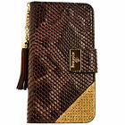 Womens Leather Flip Wallet Purse Case Credit Card Holder BROWN Galaxy Note 3 4 5