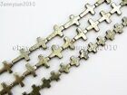 Natural Grey Silver Pyrite Gemstone Cross Spacer Beads 16'' Strand 8mm 10mm 15mm