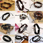 GENUINE LEATHER MENS / WOMENS SURFER BRACELET WRISTBAND WRAP, BLACK, BROWN