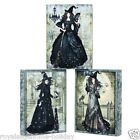 X46819 Vintage-look Black Magic Women Witch Halloween Bedazzled Canvas Wall Art