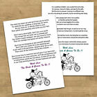 Poem Cards Asking For Money Vouchers Wedding Gift Funny Bike Cycling Bride Groom
