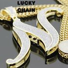 "14K YELLOW GOLD FINISH INITIAL LETTER N ICED OUT PENDANT 36""CHAIN 131g L13"
