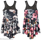 Women Ladies Mini Skater Dress Mesh Insert Skater Flowers Print Dresses 10 12 14