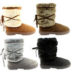 WOMENS SNOW BOOTS WARM FULLY FUR LINED WATEPROOF SKI MUCK SOLES LADIES NEW 3-8