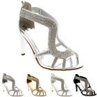 Womens Diamante Dress Open Toe Silver Wedding Prom Party Low Mid Heel UK 3-9