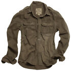 SURPLUS MILITARY MENS SHIRT VINTAGE LOOK LONG SLEEVE 100% COTTON BROWN S-XXL