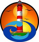 Lighthouse sunset with wave decal Camper RV motor home mural graphic