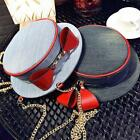 2016 New Creative Hat Shape Bow Chain Denim Shoulder Messenger Bag Handbag