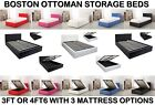 """3ft & 4ft6 Deep Ottoman Gas Lift Strong Storage Bed with 6"""", 7"""" & 10"""" Mattress"""