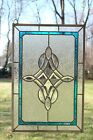 "Tiffany Style stained glass Clear Beveled window panel 16.5"" x 24.5"""