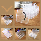 10-36 Slots Clear Plastic Storage Box Jewelry Beads Sewing Craft Organizer Case
