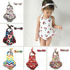 Baby Girls Sunsuit Ruffle Bottom Romper Vintage Floral Dress Matching Headband