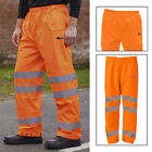 """Mens High Viz Waterproof Over Trousers 36"""" - 42"""" Waist Hi Visibility Safety Work"""