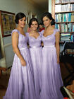 Lilac Long Handwork Chiffon Formal Prom/Bridesmaid Cocktail Party Evening Dress