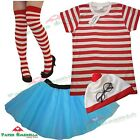 Ladies Girls RED & WHITE STRIPED T-Shirt TUTU Fancy Dress costume Book Week Hen