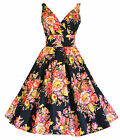 Womens 50's Vintage Black Floral Cotton Full Circle Rockabilly Tea Dress 8 - 18