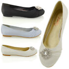 WOMENS BRIDAL SATIN PUMPS LADIES DIAMANTE BROOCH SLIP ON FLAT BALLERINA SHOES