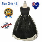 New Ivory & Black Flower Girl Dress Formal Wedding Party Girls Dress Size 2 to14