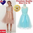 Embroidered Flower Girl Dress Party Formal Girls Dress Blush & Aqua Size 6 to16