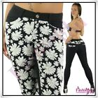 Sexy Women's Skinny Trousers Ladies Floral Casual Pants Size 8,10,12,14,16 UK