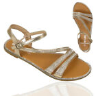 Ladies Diamante Gladiator Womens Open Toe Strappy Bridal Party Summer Sandals