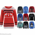 Womens Oversized Jumper Penguin Reindeer Christmas Ladies Knitted Winter Sweater