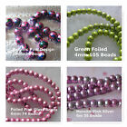 Metallic Foiled Glass Beads Pinks Green 4mm to 10mm Assorted