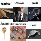 Men Women Metallic Leaves Feather Crown Game Of Thrones Scepter Brooch Pins