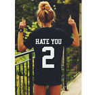 HATE YOU 2 Fashion Tumblr Blogger Womens Black T-Shirt Hipster Tops Shirt Blouse