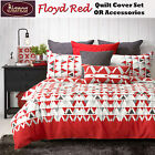 Floyd Red Geometric Quilt Cover Set OR Accessories by Bianca
